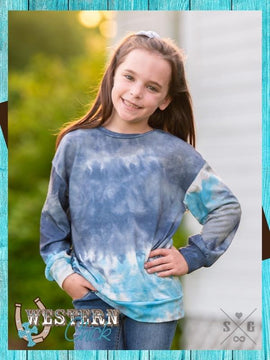 Girls Blue Smoke Tie Dye Long Sleeve Tee
