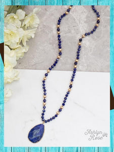 Deep Blue Beaded Necklace Jewelry Southern Grace