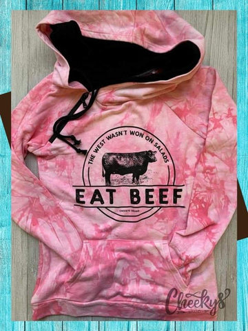 Eat Beef Hoodie - Pink Tie Dye Top Cheekys