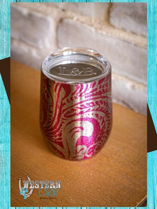 Tooled Print Chrome Wine Tumbler - Fuchsia Mugs L & B