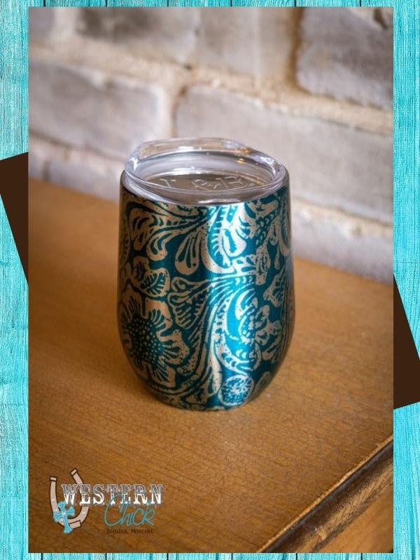 Tooled Print Chrome Wine Tumbler - Jade Mugs L & B