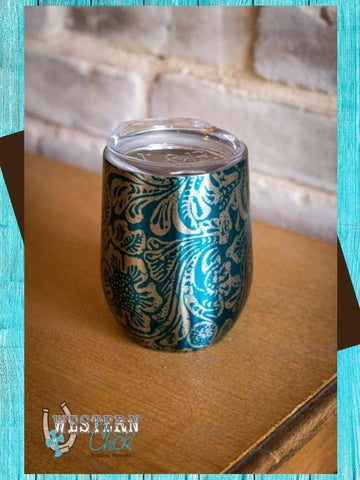 Tooled Print Chrome Wine Tumbler - Jade