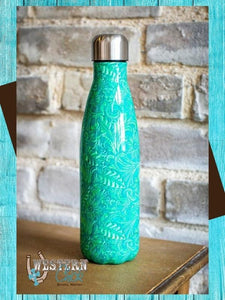 Copy of Tooled Print Chrome Metal Bottle - Turquoise