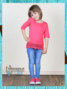 Girls Crochet Lace Trim Shirt