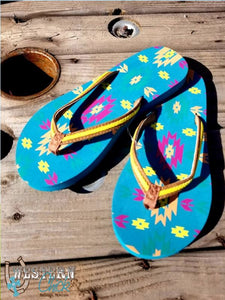 Flip Flop-Turquoise Aztec Shoes Trenditions