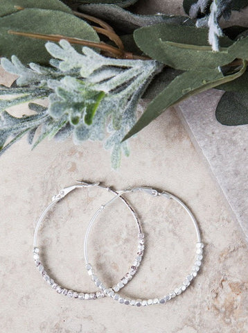 Grace's Beaded Hoop Silver Earrings