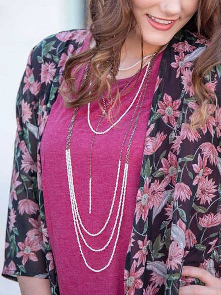 Daintily Draped Layered Necklace - Beige Jewelry Southern Grace