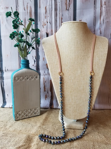 Navy Iridescent Beads w/ Leather Necklace