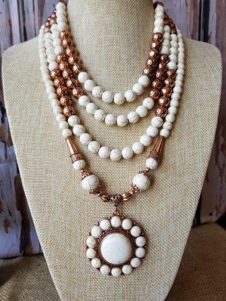 Copper & White Mottled Antiqued Beads Necklace Set Jewelry M&F Western Products