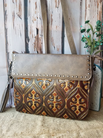 Brown Embossed Conceal Crossbody