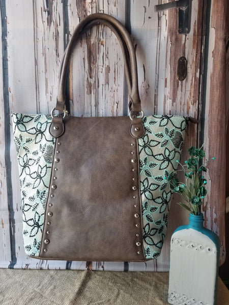 Brown w/ Black and Mint Leaf Lace Tote Bag Handbags M&F Western Products