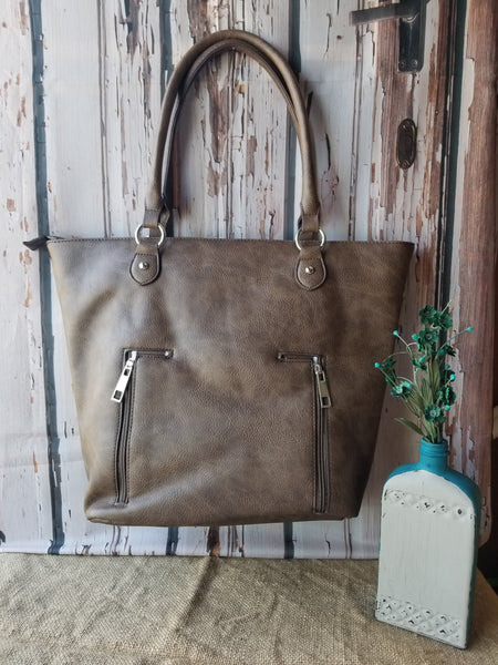 Brown w/ Black and Mint Leaf Lace Tote Bag