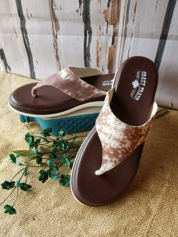 Brown & Tan Hide Flip Flops