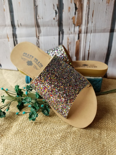Showstopper Glitter Slides by Crazy Train® Shoes Crazy Train