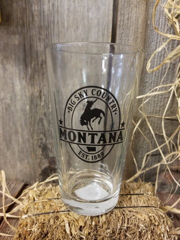 Montana 16 oz Pint Glass - Bucking Bronco Drink Glasses Hamilton Group