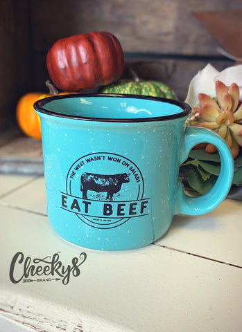 Eat Beef Coffee Mug - Turquoise Mugs Cheekys