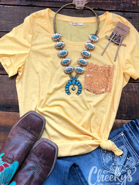 Banana Cream with Gold Sequin Pocket Tee Top Cheekys