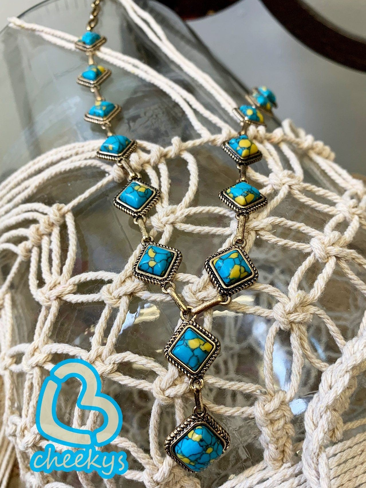Spurling's Turquoise & Mustard Stone Necklace