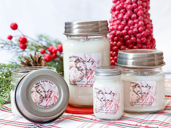 Candy Cane Mason Jar Candle 8 oz Candles & Melts Candle Baarn Co.