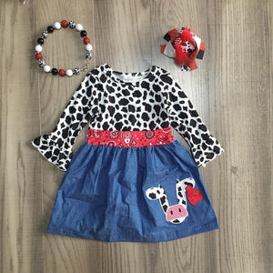 Cow Print And Denim Dress kids Sparkledots
