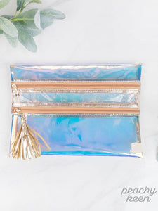 Peach Sunset Clear Double Zipper Versi Bag