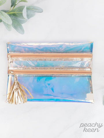Peach Sunset Clear Double Zipper Versi Bag Bag Southern Grace