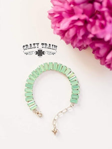 Mint Square Dance Bling Bracelet