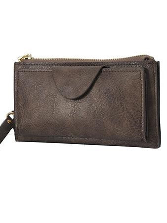 Faux Leather Wristlet Wallet - Taupe