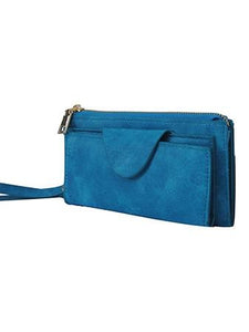 Faux Leather Wristlet Wallet - Turquoise