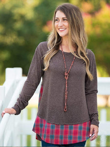 Mocha Tunic With A Plaid Hem - 2XL Top Southern Grace