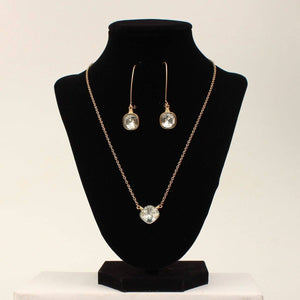 Burnished Gold Clear Stone Necklace Set