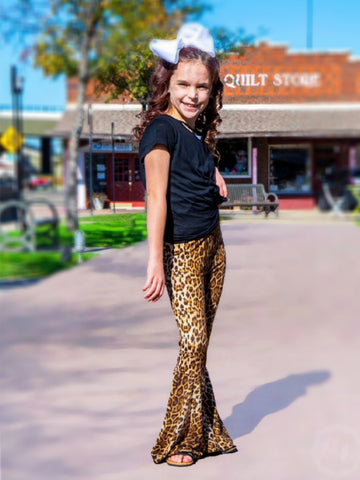 Girl's Leopard Flare Pants