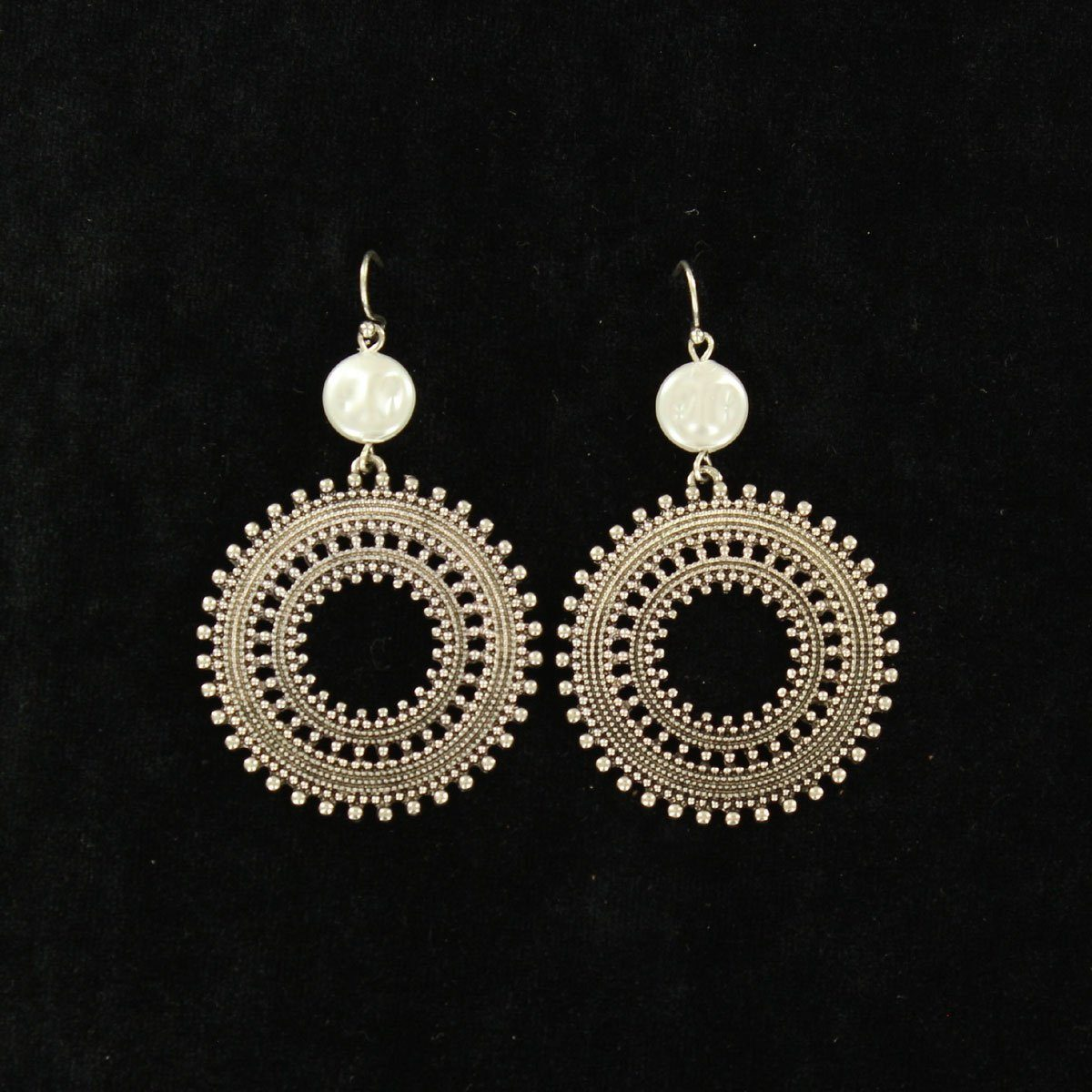 Silvertone Round with Pearly Accented Earrings Jewelry M&F Western Products