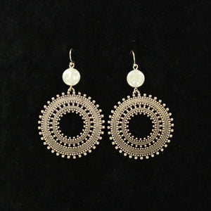 Silvertone Round with Pearly Accented Earrings