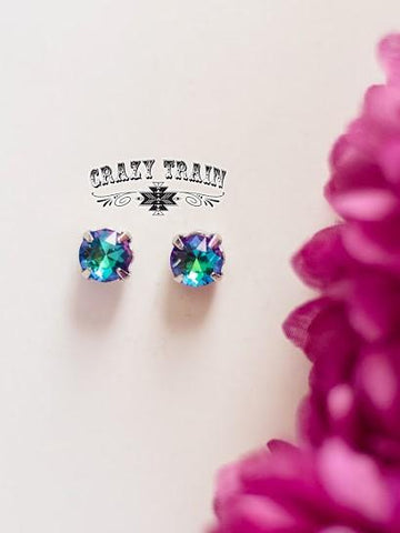 Glam Girl Stud Earrings - Greenish Turquoise