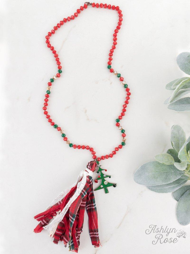 Hand Painted Christmas Tree Tassel Necklace Jewelry Southern Grace