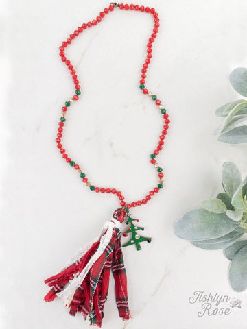 Hand Painted Christmas Tree Tassel Necklace