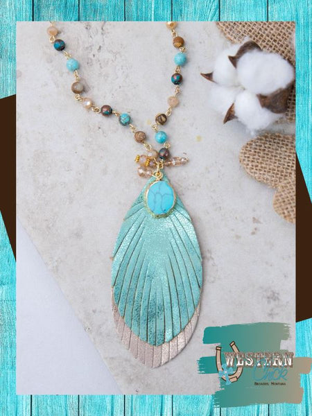 Feather Beaded Pendant Necklace Kimono Southern Grace