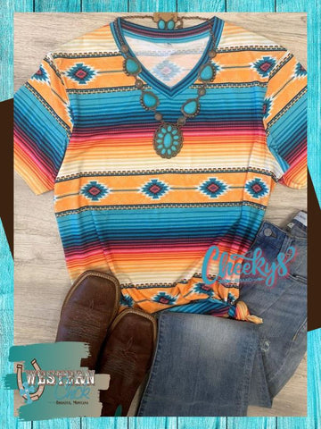 Cancun Serape V-Neck Tee Cheekys