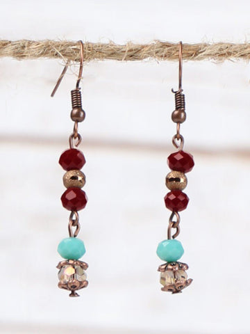Triple Threat Turquoise & Burgundy Beaded Earrings