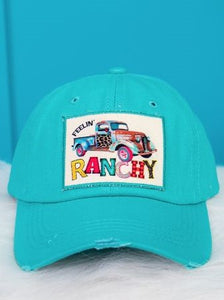 Feelin' Ranchy Turquoise Distressed Cap