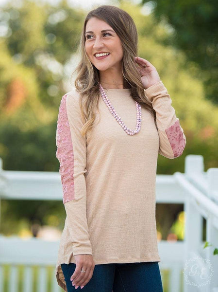 Refined Beige Blouse With Button Back - 2XL Top Southern Grace