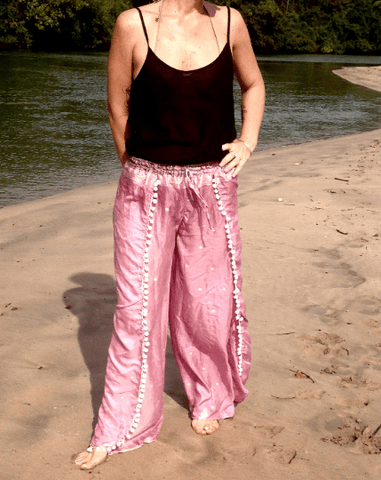 Split Leg wrap pants made from recycled silk saris from India in a fusion of Indo-Western style with a bohemian touch.