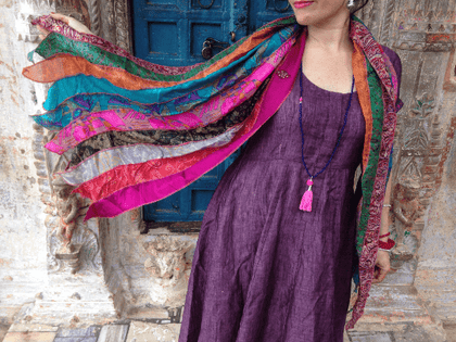 Colorful Silk Sari Scarfs made from recycled silk saris are great for any time to year to add color and style to your outfits.