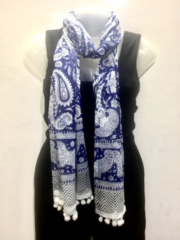 Pom Pom Cotton Block Print Scarf - IndiBlu Boutique