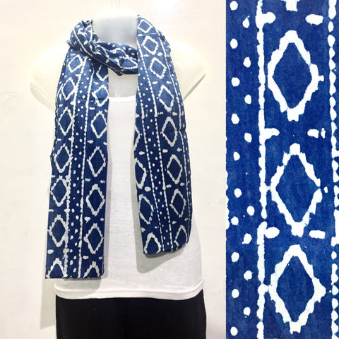 Indigo Blue Cotton Scarf - IndiBlu Boutique