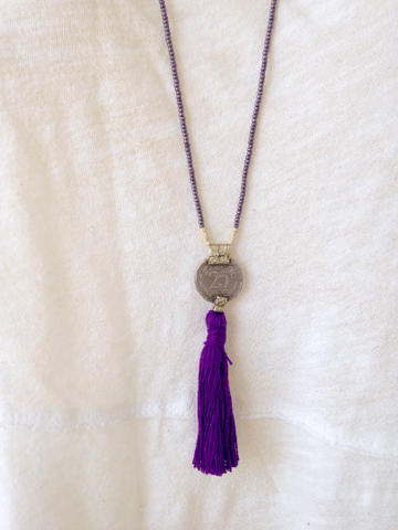 Mala Necklace with Indian Coin Jewelry IndiBlu Boutique