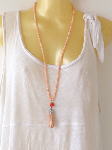 Rose Quartz Mala Necklace Jewelry IndiBlu Boutique