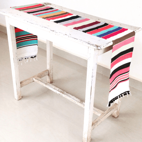 Striped Pom Pom Table Runner Home Decor IndiBlu Boutique