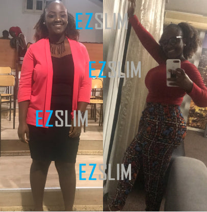 Before and after image of an EZ Slim customer